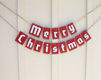 Merry Christmas Banner, Christmas Card Photo Prop, Vintage Inspired