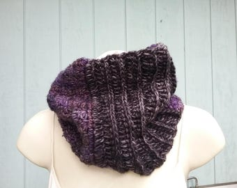 Tall  Cowl Purple Black Madelinetosh Yarn