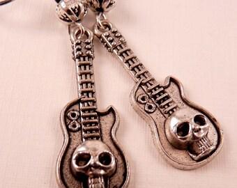 Skull Earrings Guitar Earrings Skull Jewelry Silver Jewelry Guitar Jewelry  Beaded Jewelry Beaded Earrings  Earrings Metal Silver Jewelry
