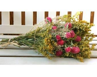 DRIED FLOWER BOUQUET Lovely Goldenrod & Globe Amaranth Flower bunch gomphrena flower bouquet gift Wedding bouquet birthday flower gift party