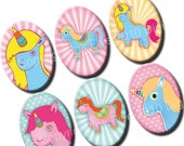 50% OFF SALE Unicorns 18x25 mm ovals. Fairy pony digital collage sheet for 18 x 25 mm cabochons, pendants, cameos. Cartoon digital download