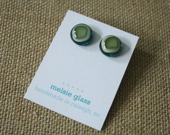 Ringed Green and Turquoise glass earrings - turquoise and sea green glass studs, round earrings