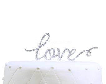 Unik Occasions Love Acrylic Wedding Cake Topper, Silver Glitter