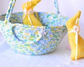 Blue Easter Basket, Handmade Blue and Green Easter Bucket, Easter Egg Hunt Bucket, Baby First Easter Basket, Easter Decoration