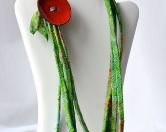 Summer Green Necklace, Handmade Green Necklace, Multi Strand Infinity Necklace, Skinny Fashion Necklace, Trendy Fiber Wrap Jewelry