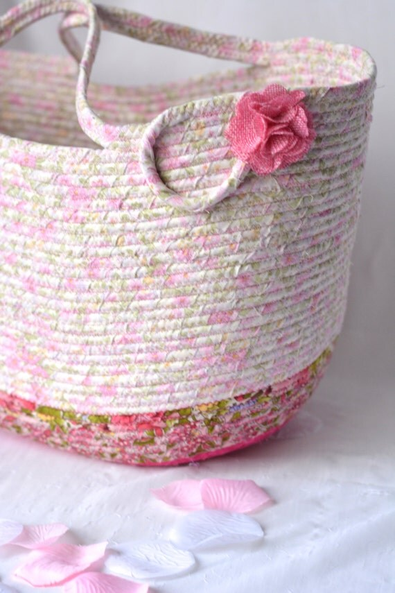 Shabby Chic Tote Bag, Handmade Pink Floral Basket, Decorative Storage Organizer, Knitting Bag, Picnic Gift  Basket, Baby Shower Gift