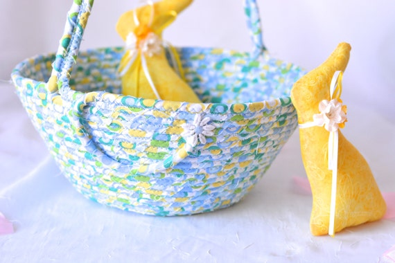 Baby Boy Easter Basket and 1 Cute Easter Bunny, Handmade Blue and Green Easter Bucket, Easter Egg Hunt, Baby Boy First Easter Basket