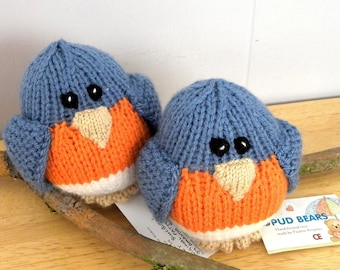 Hand Knitted Bluebird - CE Marked Toy - Knitted Toy for Babies and Children