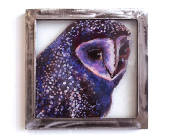 Original painting of Barn Owl with Starry Night Plumes painting on glass with Steel frame