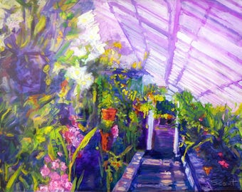 Botanical Art print of painting Tender Wild Heart // Giclee Print of original painting of luscious greenhouse