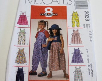 McCall's 2039 Children's and Girls' Jumper, Jumpsuit, and Hat Sizes 3,4,5 UNCUT