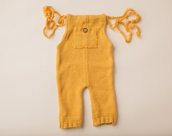 Yellow Knit Sweater- Newborn Photography Overall Set