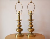 Mid Century Brass Stacked Ball Table Lamps