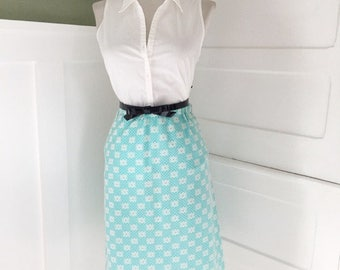 Vintage 1960s light Robins Egg Blue & White Floral A-line Spring Summer Skirt