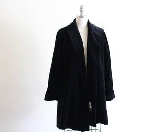 Vintage Velvet Swing Coat   Open Front   Free Size