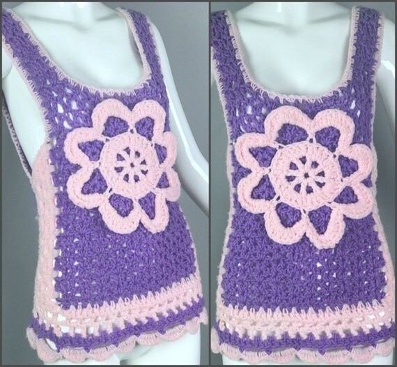 Vintage 70s Crochet Knit Handmade Sweater Vest Jumper Tank Top Floral Granny Square Chunky Festival Hippie Boho Afghan Crocheted Pullover
