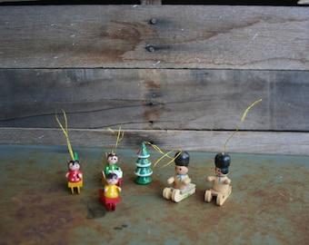 Set of Six Vintage Wooden Sledding Christmas Ornaments - Sledding Ornaments - Snow Sport Ornaments