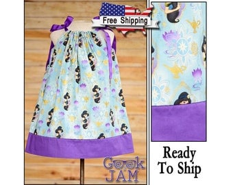 6-9-12-18-24 months / 2T-3T-4T / 5-6-7-8 /Disney Jasmine, Aladdin Pillowcase Dress -Ready To Ship / Purple