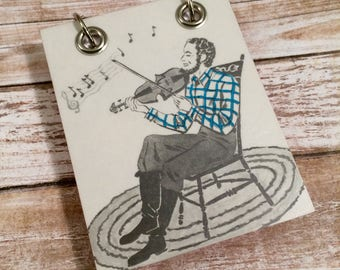 Upcycled Notebook - Recycled Note Book - Small Refillable Notepad - Music Man - Vintage Children's Book