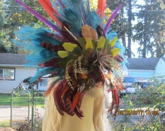 Vibrant Parrot Feather Masquerade Mask, Goddess Headdress,Tribal Headdress,Wearable and Decorative Mask, Mardi Gras, Burning Man Wear