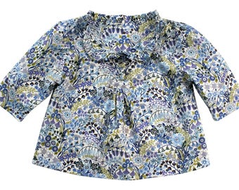 Girls Blue Floral Shirt// Mary Mary Liberty of London Popover// Baby Girl Blue Floral Blouse// Preppy Girl's Clothing// Girl's Summer Top