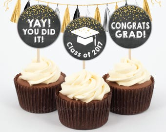 Graduation Cupcake Toppers - Class 2017 - 2 inches - Instant Download