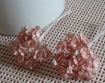vintage FORGET ME NOTS blush pink 16 stems millinery flowers tiny cottony feel