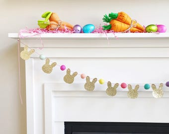 Mini BUNNY Glitter Garland with Felt Balls