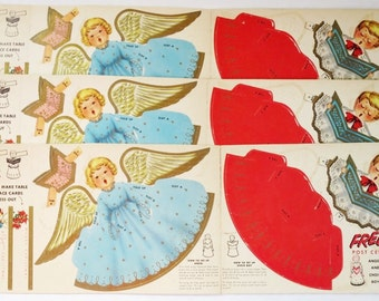 Vintage Paper Angel Post Cereal Advertising Premium, Kitsch Paper Punch Out Christmas Decoration, Vintage Paper Doll Angels Kids Crafts