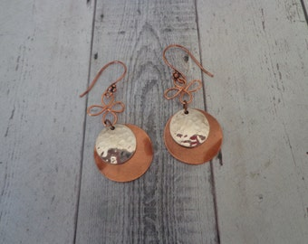 Handmade Copper and Sterling Wavy and Hammered Disk Pierced Dangle Earrings, Mixed Metal Jewelry