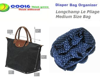 Diaper Bag organizer Insert For Longchamp Le Pliage Large Bag / Blue Polka Dots / Made to order