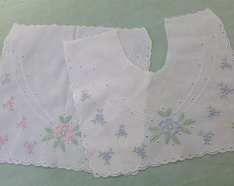 4 Child's Collar and Bibs in Pink and Blue Embroidery and White on White - Vintage - N