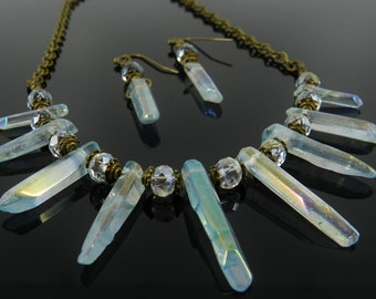 Quartz Crystal Spike Necklace and Earrings in Delicate Blue Faerie Aura