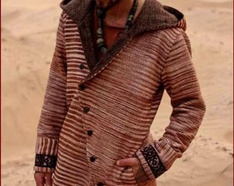 Men jacket with hoodie ~ tribal embroidery pattern ~ made of khadi cotton & wool