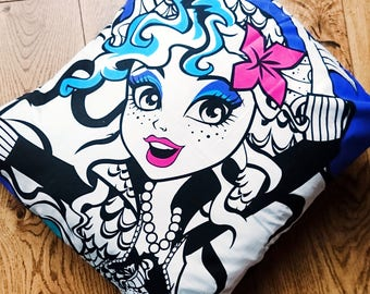 Monster high, Laguna, purple character cushion cover, pillow case, Doll cushion, cushion, geek gift, gift for girls, girl gamer