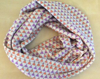 Jersey knit infinity scarf - Anna Marie Horner - Pretty Potent - Tan with orange and Purple Hearts - AMH