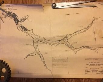 Construction Blueprint Map of Clarion River Basin East Branch Reservoir