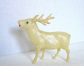 White Deer Christmas Celluloid Stag Antique Woodland Decor 1930s Japan