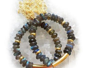 ON SALE Labradorite Tassel Bracelet-beaded bracelet, tassel bracelet, boho, gold tassel, labradorite, stretch bracelet