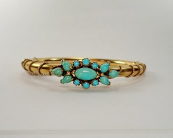 Antique 14K Turquoise Victorian Hinged Bangle Bracelet Wedding Bracelet Signed 14K
