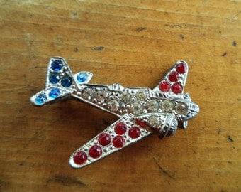 WWII Pot Metal Rhinestone Bomber Airplane Brooch