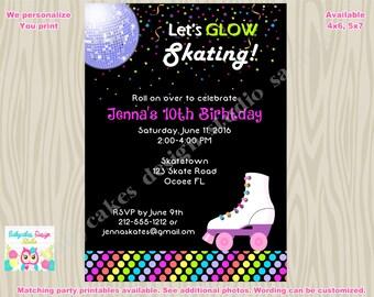 Roller Skating Invitation Roller Skate Invite Roller Skate Party Glow in the dark party neon skate party Digital Printable