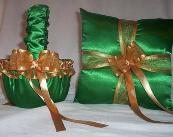 Kelly Green Satin With Gold Ribbon Trim And Ribbons  Flower Girl Basket And Ring Bearer Pillow Set 2