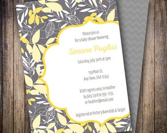 Mod Leaves Baby Shower Invitation, Mod Leaves Baby Shower Invite, Printable Baby Shower Invitation - Mod Leaves in Gray, Yellow, White