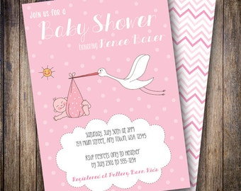 Stork Baby Shower Invitation, Stork Baby Shower Invite, Printable Baby Shower Invitation - Vintage Stork and Baby in Pink, White