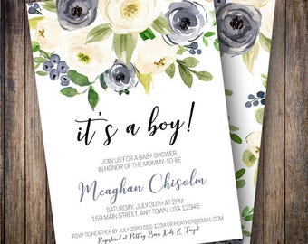 Baby Shower Invitation, Rustic Baby Shower, Boy Baby Shower Invite, It's a Boy, Boho Shower, Watercolor Floral, Navy, Green
