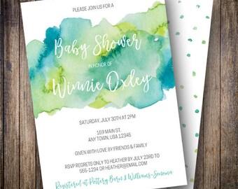 Watercolor Baby Shower Invitation, Minimalist, Watercolor Wash, Boy Baby Shower, Dark Teal, Green, Printable Invite