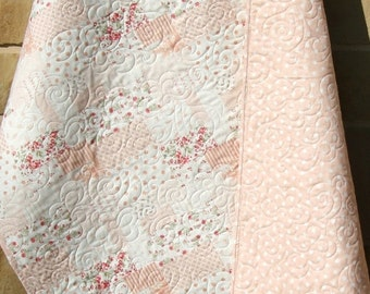 Shabby Chic Baby Girl Quilt, Cottage Style, Pastel Light Pink Coral White, Child Youth Crib Cot Bedding, Whitewashed Nursery Decor Floral