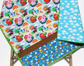 Farm Quilt, Baby Boy or Girl, Ranch Animals, Sheep Cow Rooster Barn Tractor, Country Life, Blue Yellow Red Gender Neutral, Toddler Bed Quilt