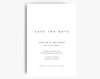 Modern Save the Date Card, Minimalist Save the Date, Printable Save The Date, Save The Date Template, Save The Date Cards, Instant Download